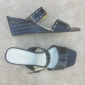 Franco Sarto Woman's Black & White Wedge Slides